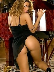 Roxanne Dawn in Latina Secretary with Curly Hair at Piano