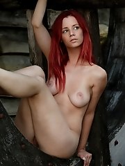 Teen babe with big tits Ariel showing of her firm tight body and big tits at the mill wheel